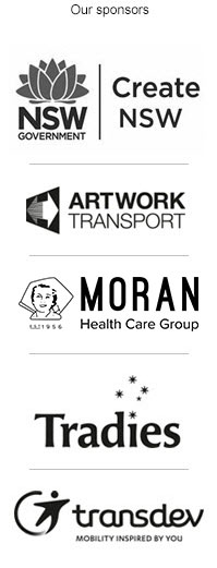 Hazelhurst sponsor list, Arts NSW, Artwork Transposrt, Moran Aged Care, Tradies, transdev.